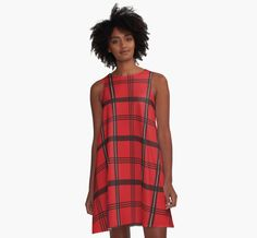 "Tartan Plaid pattern women's A line dress by NamiBear on RedBubble.com. Enjoy this classic but original tartan pattern (commonly referred to as ""plaid"" in the US). I used red, black, and white colors."