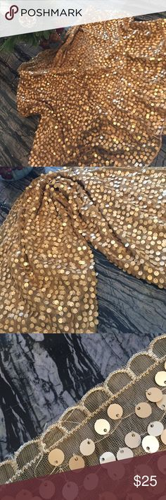 Frosted Gold✨✨✨✨ Gold sequin shawl/scarf. Has scalloped edging with muted but glimmering gold sequins!  NWT perfect for the Holidays or and special occasion✨✨✨✨✨ color craze Accessories Scarves & Wraps