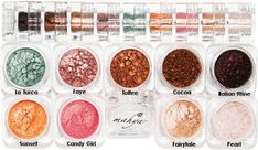 Mahya Mineral Eye Shadow 9 stack - Summer. The earthtone and natural colors in this stack include the following multi-purpose minerals by Mahya: Pearl, Fairy Tale, Candy Girl, Sunset, La Turca, Faye, Toffee, Cocoa, and Italian Wine.