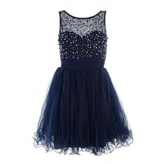 Navy Chiffon Pearl And Diamante Prom Dress