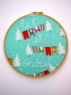 Let It Snow -  Embroidery Hoop Art ready for display - 8 x 8 Inch Hoop. $28.00, via Etsy.