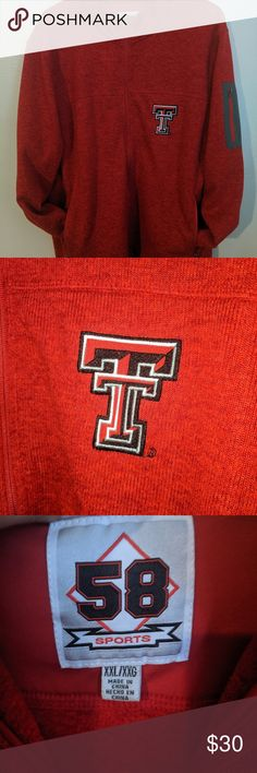 Texas Tech Red Raiders Red Sweater Tough out the late-night or cold games or simply show your team pride in this super-comfy  sweatshirt. Texas Tech logo is embroidered at the chest Size XXL perfect for this fall and football season Great condition 100% polyester 58 Sports Jackets & Coats