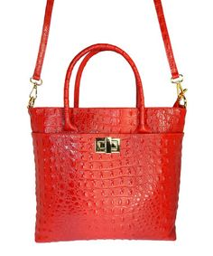 This Red & Gold Alligator Embossed Tote by Bevacci Collezione is perfect! #zulilyfinds