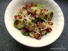 Primal Pan Fried Brussels Sprouts with Bacon & Parmesan