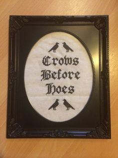 Crows before hoes game of thrones franed cross stitch 8 x 10 jon snow vintage style frame on Etsy, £14.99