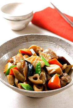Chikuzen-ni - (simmered chicken and root vegetables) stylish japanese food