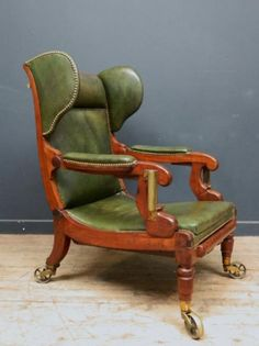 A Reclining Leather Library Chair, Antique Chairs & Armchairs, Drew Pritchard... LOVE <3