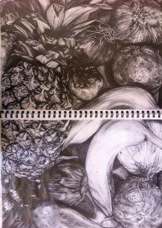 Fruit and Veg Still Life, using pencil