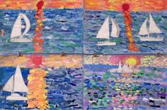 Monet- Water.  In art class students were taught how to paint using individual brushstrokes. They learned how to use cool color tints for the water and warm color tints for the sky. They also are doing observations of sailboats that will then be added to the paintings.