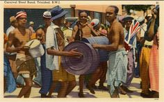 VE DAY, 1945  In the early days of Carnival in the 1800s, musical accompaniment for masquerade bands in downtown POS  was mainly from chantwells on their guitars, supplemented by flutes and men drumming on lengths of bamboo. This became known as tamboo-bamboo and became a critical element of the wild revelry of downtown carnival which was separate and apart from the 'pretty mas' of upper classes which centered around grand masquerade balls in hotels and the Queen's Park Savannah Carnival Date, Trinidad Carnival, Soca Music, Drums Art, Port Of Spain, Nature Center, Park Hotel, Flutes, Small Island