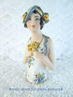 Porcelain Half Doll - Pincushion - Rose