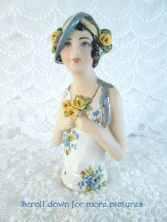 Porcelain Half Doll - Pincushion - Rose