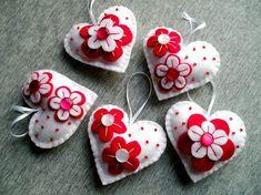 Felt Ornament – Felt Heart – Flowers Ornament – Read White – Handmade Heart – Embroidery Heart – Set of 5 Felt Ornament – Felt [. Felt Christmas Decorations, Felt Christmas Ornaments, Handmade Ornaments, Valentine Decorations, Valentine Crafts, Valentines, Embroidery Hearts, Felt Embroidery, Fabric Hearts