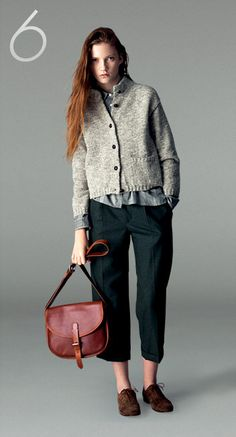 slouchy, masculine, evergreen pants, nubby chunky knit cardigan sweater, oxford shoes, red hair, buttoned up, collared, stripes, schoolgirl style, red purse from: margaret howell