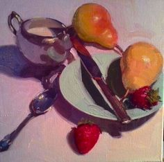 """A Pear of Strawberries"" oil on canvas Dennis Perrin   dennisperrinfineart.com"