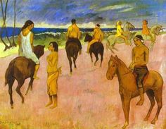 Riders on the beach II by @paul_gauguin #cloisonnism