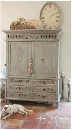 Beautiful Swedish paint finish on an old armoire! French Nordic neutrals are simple casual elegant decor. <3