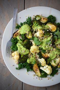 Harvest bowl with avocado cilantro cream - www.scalingbackblog.com