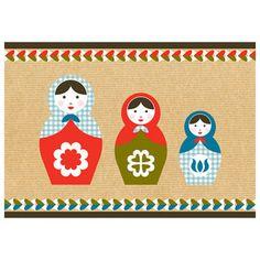 Folk Art Print - 3 Babushka Dolls