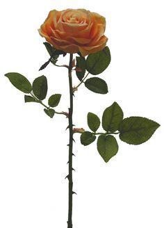 Linda rosa laranja, com 1 botão aberto médio, qualidade extra, | Referência: 1356500000934 | Altura: 60 cm | Composição: Tecido, Plástico e Arame