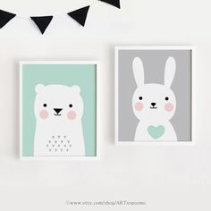 Printable Nursery Art Set of 2 Poster Baby room Wall от ARTsopoomc