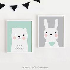 Printable Nursery Art Set of 2 Poster Baby room Wall от ARTsopoomc
