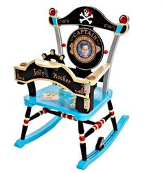 Levels of Discovery Jolly Rocker Pirate Rocker Nautical Lamps, Nautical Bedding, Off Your Rocker, Pirate Bedroom, Hand Painted Chairs, Wooden Rocking Chairs, Childrens Beds, Pirate Theme, Pirates