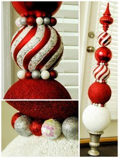 Christmas Ornament Topiary- Tutorial by SWEET HAUTE idea for DIY decor, make your own huge topiary to display by the mantle fireplace, front door, porch it is beautiful and unique something great to make as a gift even! Pin now.....read later.