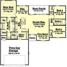 Ranch Style House Plan - 3 Beds 2 Baths 1500 Sq/Ft Plan #430-59 Floor Plan - Main Floor Plan - Houseplans.com