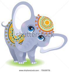 stock vector : Indian elephant. Cute animal character for your design, isolated on white background. No mesh or blends. The vector art image is very well-organized in groups