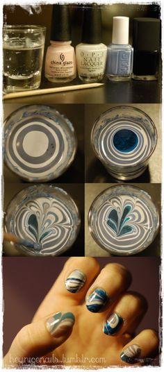 DIY Nail Art - Water Marble Nail Tutorial - Inspire Beauty Tips