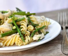 Pasta with lemon rosemary chicken and asparagus.  Screams spring!