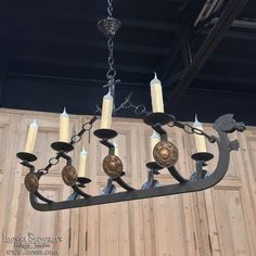 Mid-Century Forged Iron Viking Chandelier