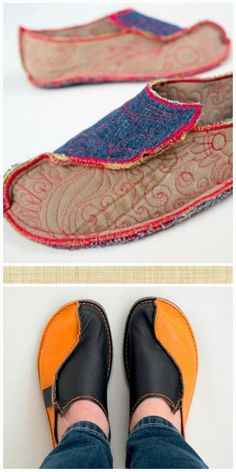 Pinned this for the link to tutorial girl's tutorials . She does sell patterns for the shoes she designs. enrHedando: Como hacer Zapatos Mocasines Paso a Paso Felted Slippers, Leather Slippers, Crochet Slippers, Leather Shoes, Sock Shoes, Shoe Boots, Felt Shoes, Mocassins Cuir, Diy Clothes Videos