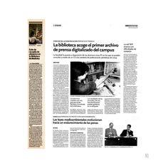 Archivo de prensa digitalizado en la Biblioteca de Ciencias de la Comunicación. Recogida de alimentos en la Biblioteca de Ciencias de la Educación y Psicología. Crónica Universitaria, 25 de abril de 2012 y 24 de mayo de 2005 respectivamente.