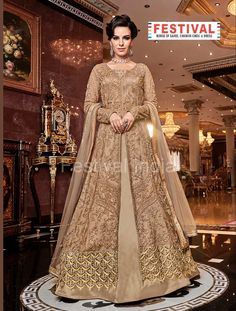 Cream Anarkali style suit online which is crafted from Net & Satin fabric with exclusive embroidery and zari work. This stunning designer Anarkali style suit comes with Satin bottom and Net dupatta. Lehenga Anarkali, Long Choli Lehenga, Lehenga Choli Online, Anarkali Suits, Churidar Suits, Lehenga Suit, Saree, Designer Anarkali, Salwar Kameez