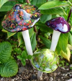 Three hand crafted ceramic mushrooms