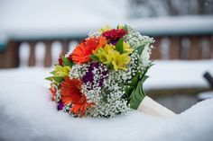 Fall wedding bouquet idea - colorful orange, yellow, purple and green bouquet {Onion Studio, Wedding & Life Photographers}