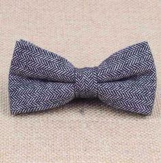 New vintage Tweed Herringbone,double layer, Grey bow tie. Excellent Quality. | eBay