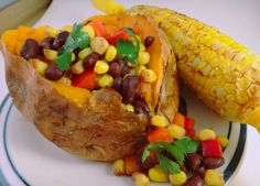 Camp Recipe: Black Bean & Corn Salad Stuffed Sweet Potato