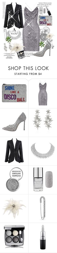 """""""Untitled #1147"""" by csfshawn ❤ liked on Polyvore featuring I Know The Queen, Badgley Mischka, Jimmy Choo, WALL, Oscar de la Renta, Chanel, Obsessive Compulsive Cosmetics, Forever 21, Carolee and Bling Jewelry"""