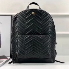 Gucci GG Marmont Matelassà Backpack 523405 2018 - Gucci Backpack - Ideas of Gucci Backpack - Gucci GG Marmont Matelassà Backpack 523405 2018 Handbags On Sale, Chanel Handbags, Replica Handbags, Luxury Handbags, Black Handbags, Black Backpack, Leather Backpack, Gucci 2018, Backpacks For Sale