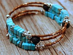 Turquoise and Pewter Memory Wire Bracelet with Lava Stones. Wire Wrap. Diffuser Jewelry. Aromatherapy Bracelet. Aqua. Brown. Western Jewelry on Etsy