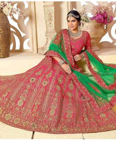 Designer Lehenga Choli Pink Colored Banglori Silk Heavy Embroidered Lehenga Cholis #designerlehengacholi #lehengacholis #bridallehengacholi available at ladyindia.com