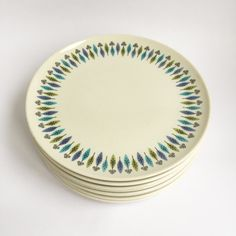 8 large plates, Carefree True China, Blue, Green Abstract Leaves by PowersMod on Etsy