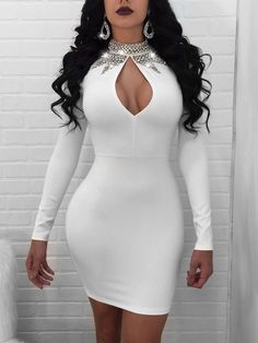 PRODUCT DETAILS This bodycon dress featuring a front keyhole, high neck and long sleeves. An everyday dress and party-ready bodycon styles that are perfect for transitioning from day to play. Tight Dresses, Club Dresses, Sexy Dresses, Short Dresses, Fashion Dresses, Fall Dresses, Pretty Dresses, Prom Dresses, Summer Dresses