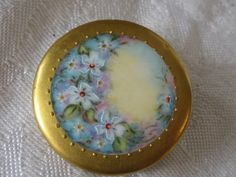 Large VINTAGE Gold Paint Border Painted Blue Flower by abandc