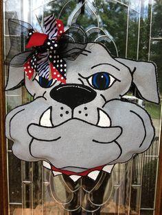 Bulldog burlap door hanger