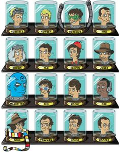 Steve Gelenter, the designer behind 'Create or Destroy Designs', or just 'CoD Designs', took 16 famous doctors of popular culture and used their heads to create a series of Futurama-style head jars called 'Doctorama'.