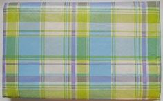 """Easter and Spring Vinyl Tablecloth - Pastel Blue,Spring Green, White and Purple -PLAID 60"""" Round - Visit to see more options"""